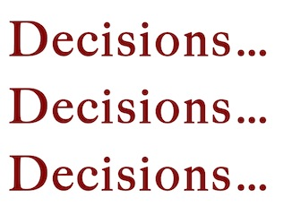 Image of word art: Decisions, Decisions, Decisions