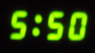 "Image of digital clock display of ""5:50"""