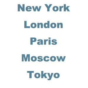 """Image of world cities """"New York, London, Paris, Moscow, Tokyo"""""""