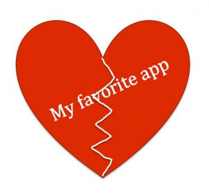 """Image of a heartbreak with the words """"My favorite app"""""""