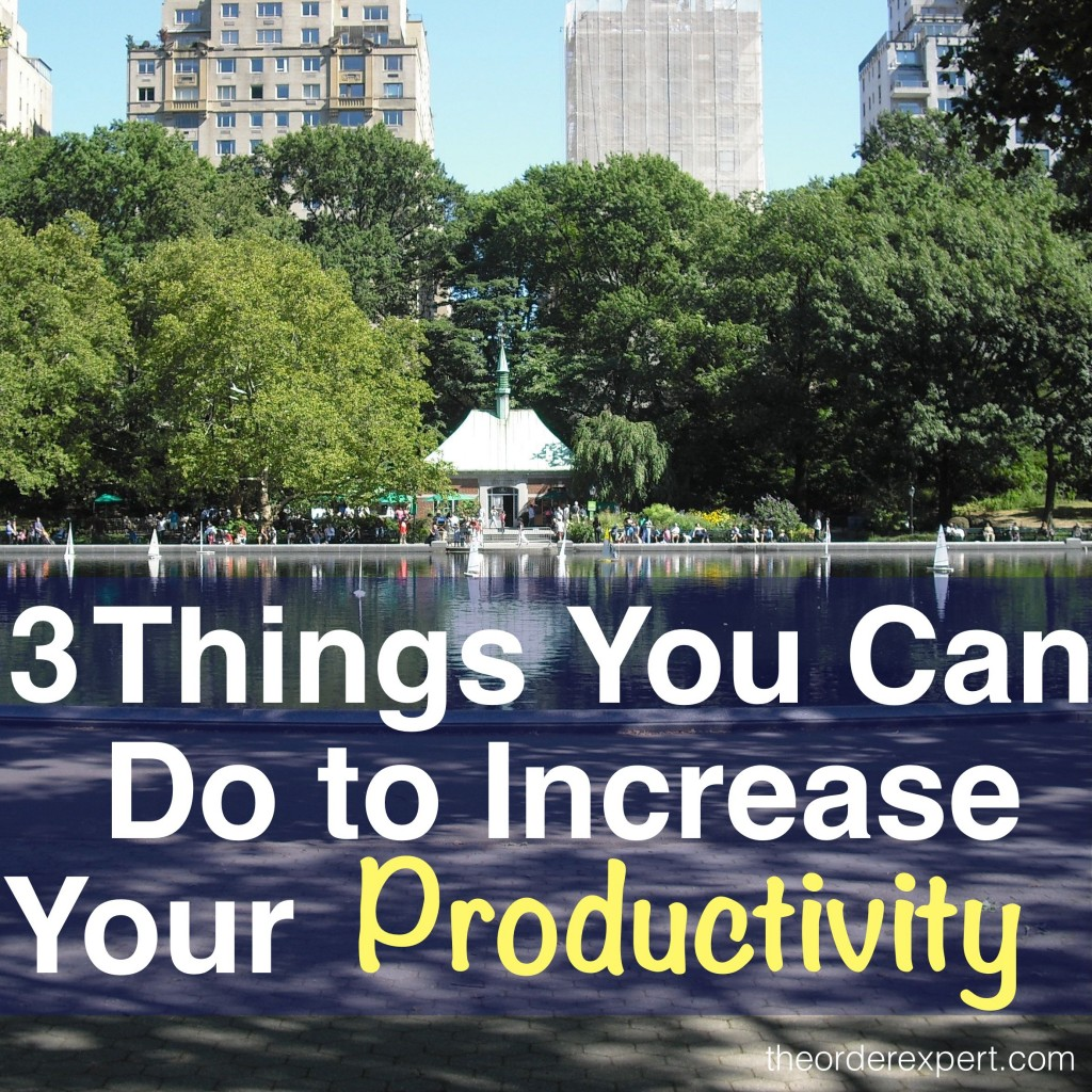 Image of Conservatory Water, Central Park and phrase, 3 Things You Can Do to Increase Your Productivity