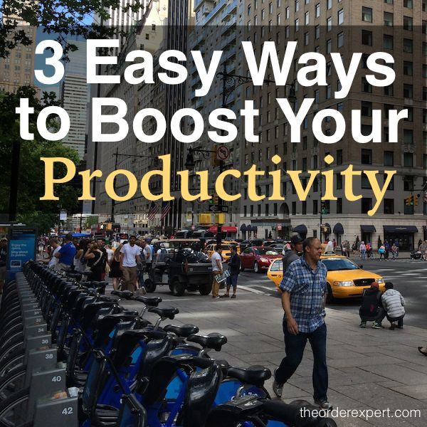 Image of people walking on a street and phrase, 3 Easy Ways to Boost Your Productivity