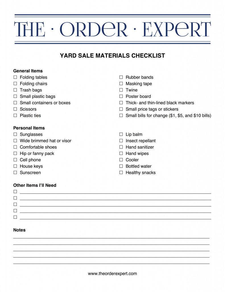 Yard Sale Materials Checklist – The Order Expert
