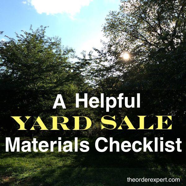 A Helpful Yard Sale Materials Checklist