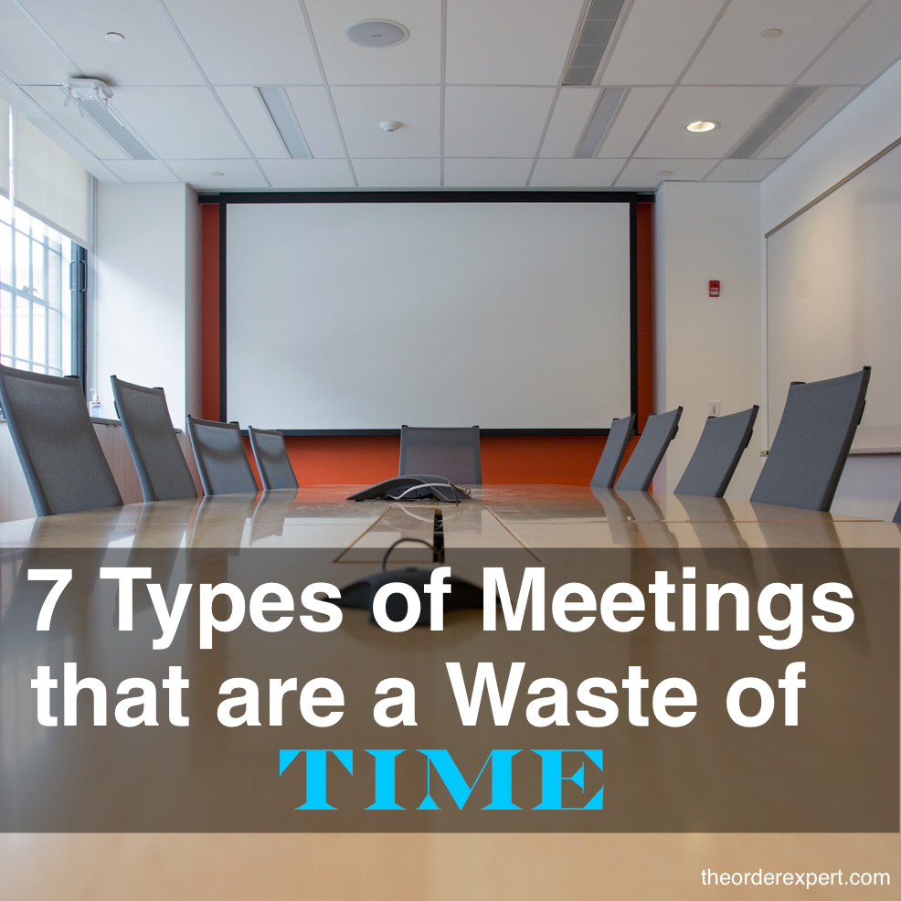 Image of a conference room and the phrase, 7 Types of Meetings that are a Waste of Time