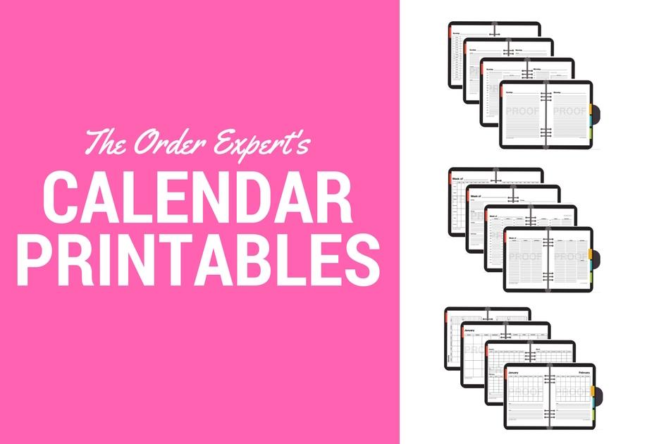 The Order Expert | Calendar Printables