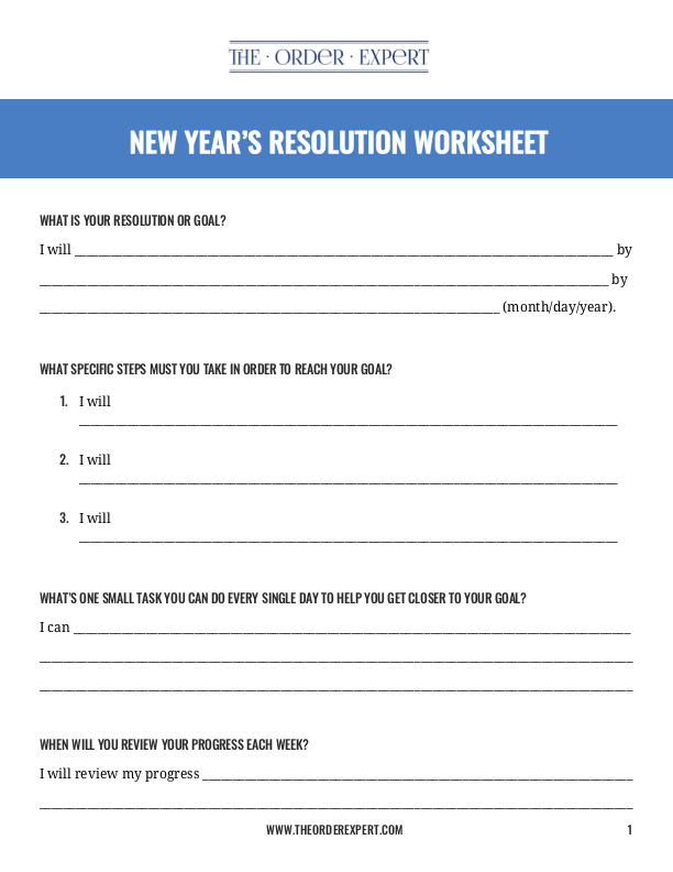 New Year S Resolution Worksheet The Order Expert