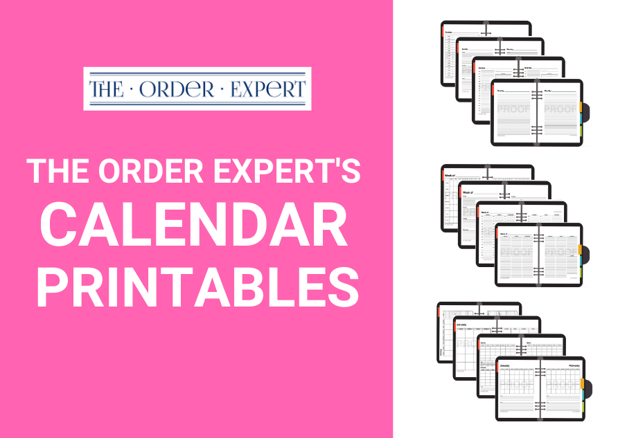 The Order Expert's Calendar Printables